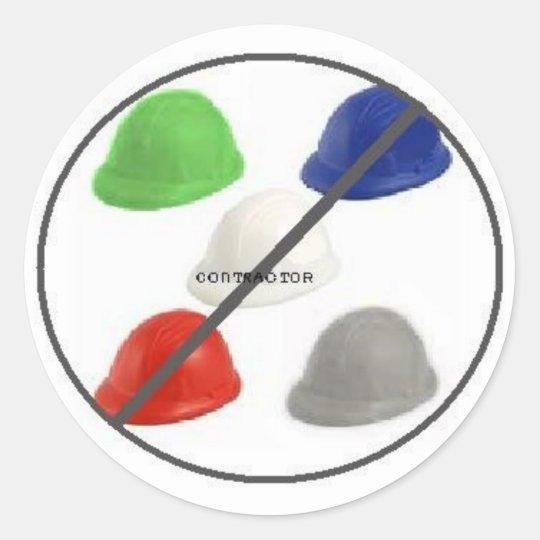 No Contractors Classic Round Sticker