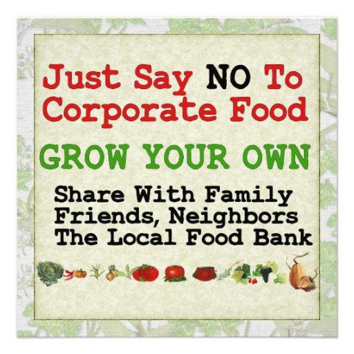 No Corporate Food Invitations