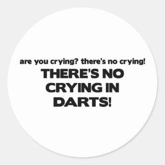 No Crying - Darts Round Sticker