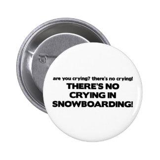 No Crying - Snowboarding 6 Cm Round Badge