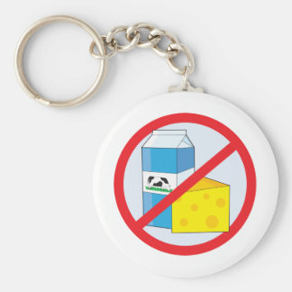 No Dairy Basic Round Button Key Ring