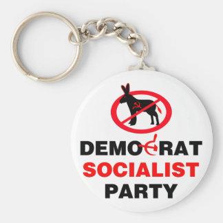 No Democrat Socialist Party (v100) Basic Round Button Key Ring