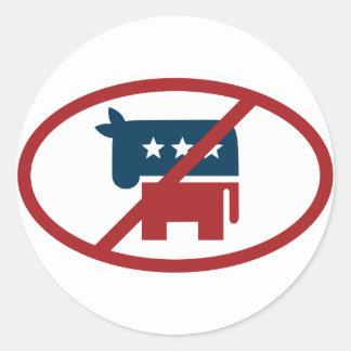 No democrates round stickers