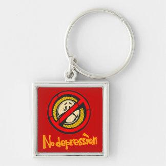 No Depression Silver-Colored Square Key Ring