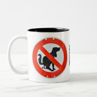 No Dog Poo Poop Sign Personalized Two-Tone Coffee Mug