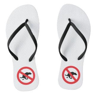 No dog poop sign funny sarcastic flip flops