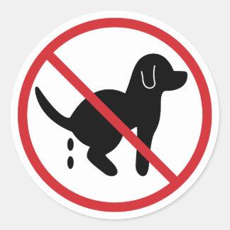 No Dog Waste Classic Round Sticker