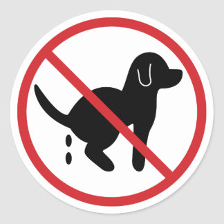 No Dog Waste Round Sticker