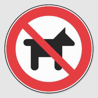 No dogs allowed round sticker