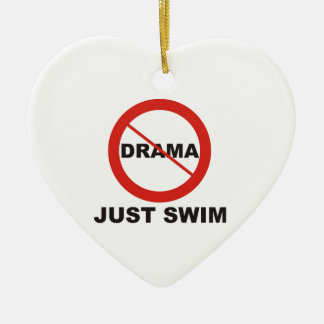No Drama Just Swim Ceramic Heart Decoration