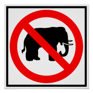 No Elephants Highway SIgn Poster