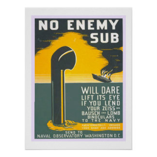 No Enemy  Sub Vintage WW2 Navy Military Poster