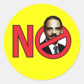 No Eric Holder Round Sticker