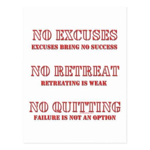 No Excuses. Post Cards