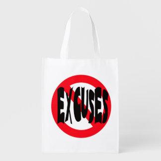NO EXCUSES REUSABLE GROCERY BAG