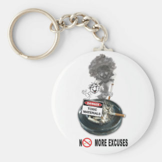 NO EXCUSES Stop Smoking Basic Round Button Key Ring