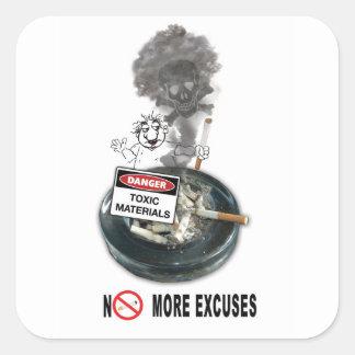 NO EXCUSES Stop Smoking Square Sticker