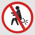 NO Farting ⚠ Funny Thai Toilet Sign ⚠ Round Sticker