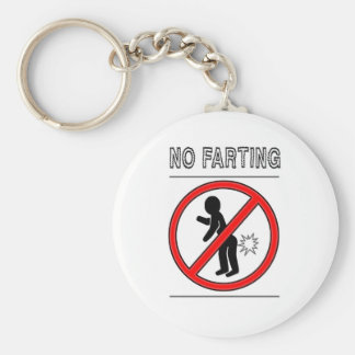 NO FARTING Warning Sign Basic Round Button Key Ring