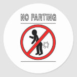 NO FARTING Warning Sign Round Sticker
