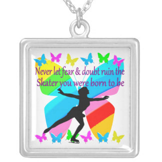 NO FEAR JUST FAITH FIGURE SKATER SILVER PLATED NECKLACE
