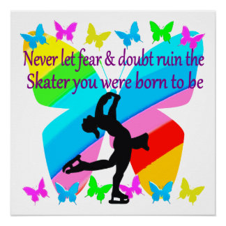 NO FEAR JUST FAITH FIGURE SKATING BUTTERFLY DESIGN