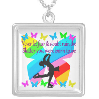 NO FEAR JUST FAITH FIGURE SKATING BUTTERFLY DESIGN SQUARE PENDANT NECKLACE