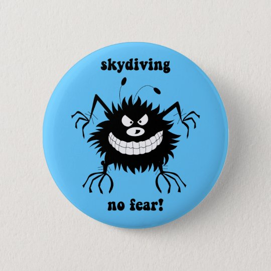 no fear skydiving 6 cm round badge