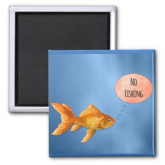 No Fishing Goldfish Square Magnet