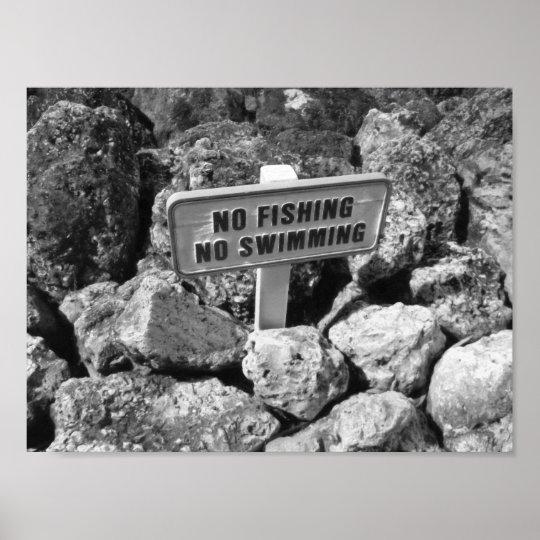 No Fishing No Swimming Rocks Black And White