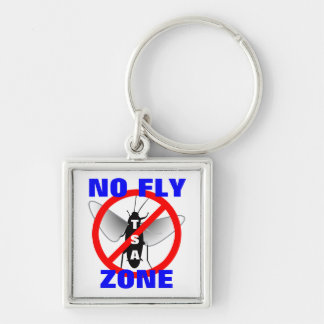 No Fly Zone Silver-Colored Square Key Ring