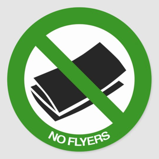 No Flyers Sign Classic Round Sticker