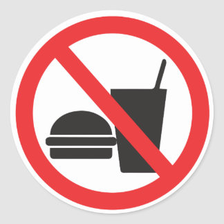 No Food or Drink sign Classic Round Sticker