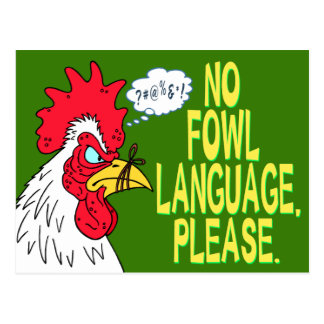 No Fowl Language Postcard