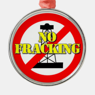 No Fracking UK 2 Silver-Colored Round Decoration