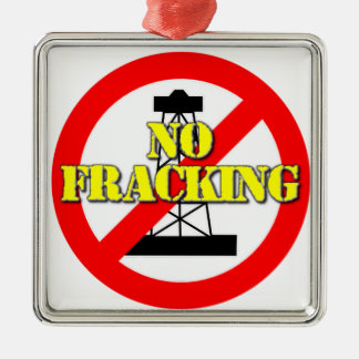 No Fracking UK 2 Silver-Colored Square Decoration