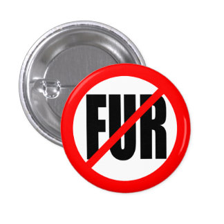 """NO FUR"" 3 CM ROUND BADGE"