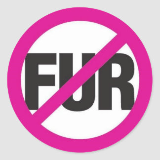NO FUR! ROUND STICKER