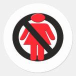No Girls Allowed Round Stickers