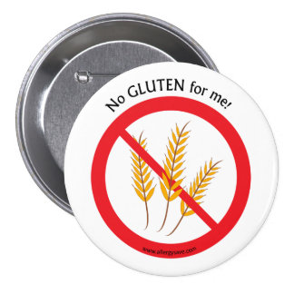 """No Gluten for me"" allergy awareness badge"