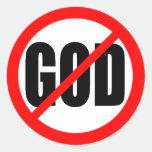 """""""NO GOD"""" ROUND STICKER"""