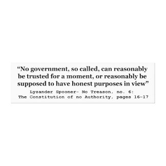 No government Can Reasonably Be Trusted Stretched Canvas Print