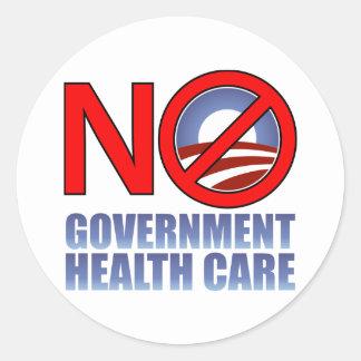 No Government Health Care Round Sticker