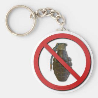 No Grenades Basic Round Button Key Ring