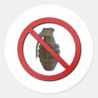 No Grenades Round Sticker