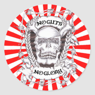 no guts no glory round sticker