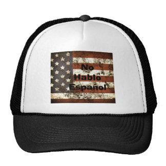 No Hablo Español American Flag Mesh Hat