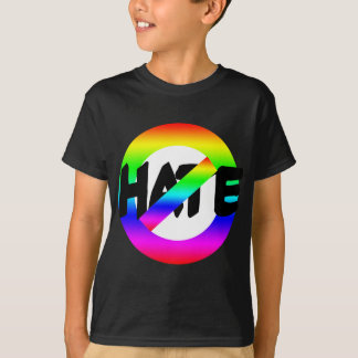 No Hate With Rainbow Colors on Tees, Buttons Tee Shirt