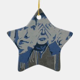 No hear no see no speak ceramic star decoration