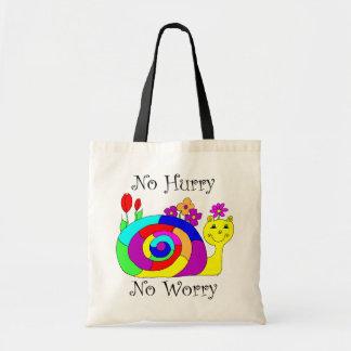 No Hurry, No Worry Slowpoke The Snail Budget Tote Bag